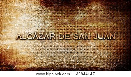 Alcazar de san juan, 3D rendering, text on a metal background