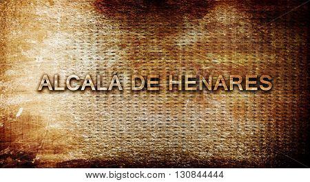 Alcala de henares, 3D rendering, text on a metal background