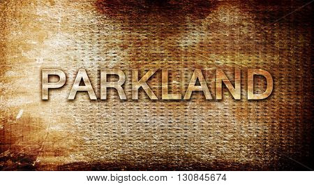 parkland, 3D rendering, text on a metal background