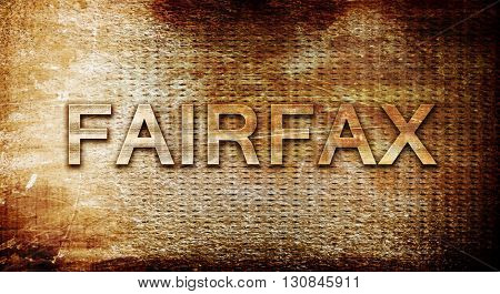 fairfax, 3D rendering, text on a metal background