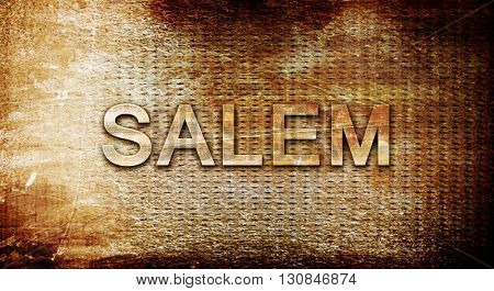 salem, 3D rendering, text on a metal background