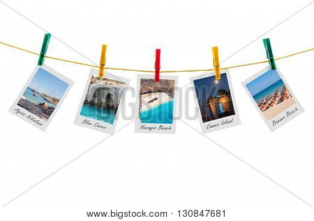 Five photos of Zakynthos on clothesline isolated on white background with clipping path