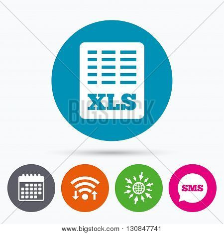Wifi, Sms and calendar icons. Excel file document icon. Download xls button. XLS file symbol. Go to web globe.