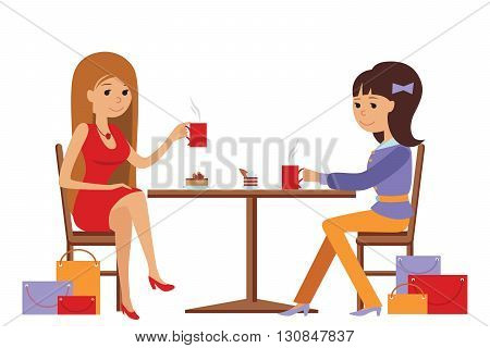 Two beautiful friends women talking friendly at coffee shop while drinking hot coffee, vector illustration of coffee break on white background.