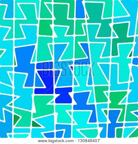 abstract vector stained-glass mosaic background - blue and teal