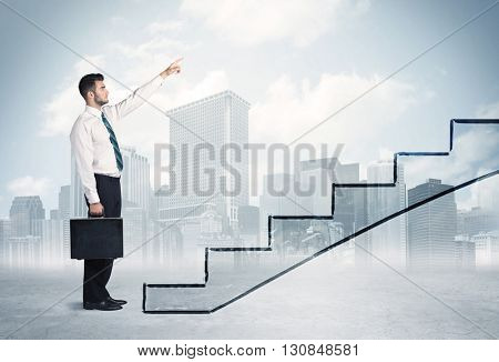 Business person in front of a staircase, city on the background
