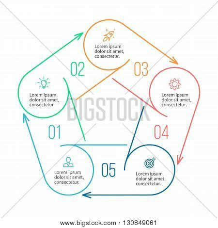 Pentagon for infographics. Minimalistic chart, diagram with 5 steps, parts. Vector design template.