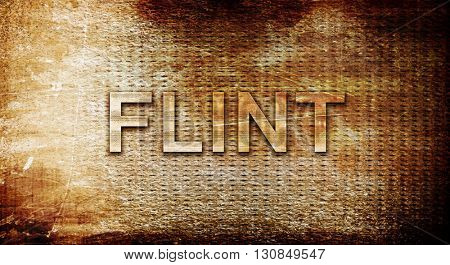flint, 3D rendering, text on a metal background