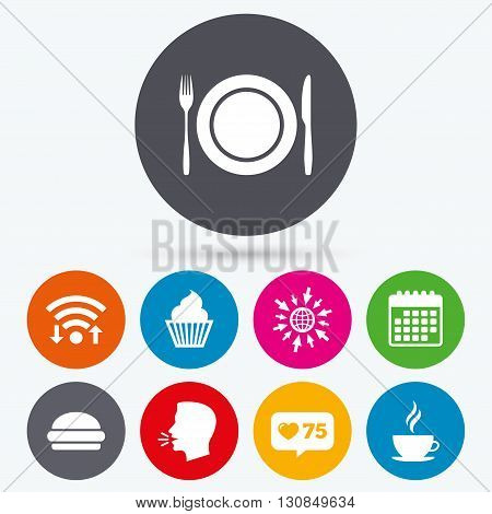 Wifi, like counter and calendar icons. Food and drink icons. Muffin cupcake symbol. Plate dish with fork and knife sign. Hot coffee cup and hamburger. Human talk, go to web.