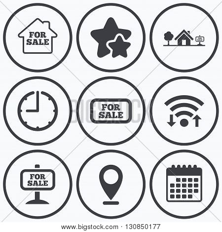 Clock, wifi and stars icons. For sale icons. Real estate selling signs. Home house symbol. Calendar symbol.