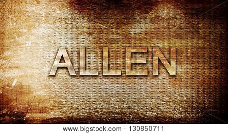 allen, 3D rendering, text on a metal background
