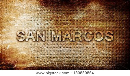 san marcos, 3D rendering, text on a metal background