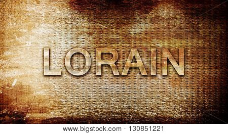 lorain, 3D rendering, text on a metal background