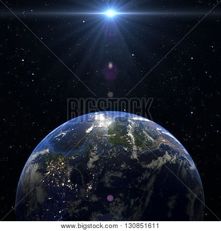 Earth Planet Solar System space isolated illustration 3d render