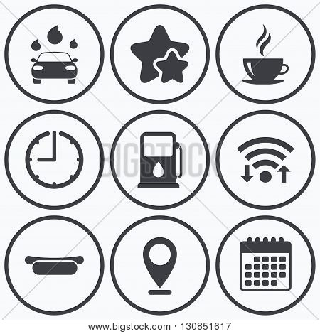 Clock, wifi and stars icons. Petrol or Gas station services icons. Automated car wash signs. Hotdog sandwich and hot coffee cup symbols. Calendar symbol.