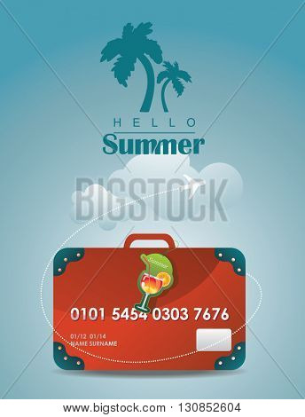 Travel suitcase. Credit card suitcase vector. summer holiday