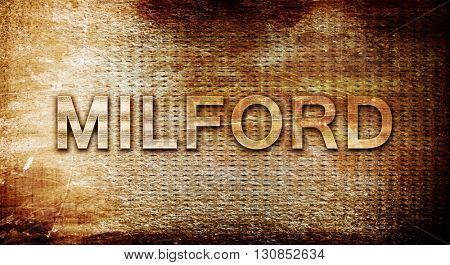 milford, 3D rendering, text on a metal background
