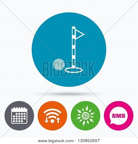 Wifi, Sms and calendar icons. Golf ball and hole sign icon. Sport symbol. Go to web globe.