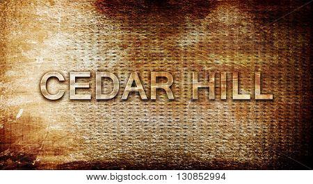 cedar hill, 3D rendering, text on a metal background