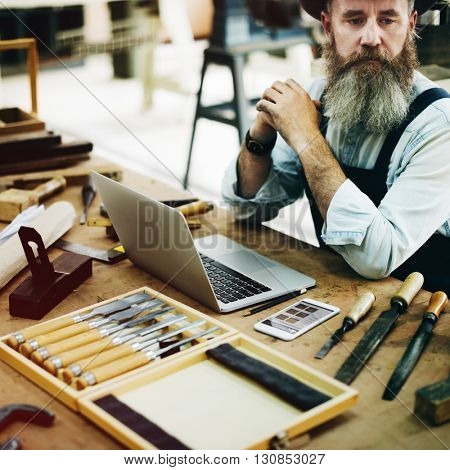 Carpenter Career Handicraft Wooden Woodwork Concept