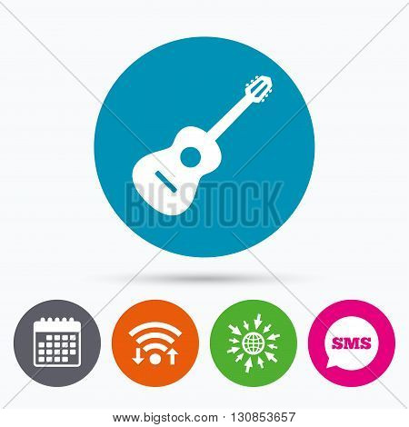 Wifi, Sms and calendar icons. Acoustic guitar sign icon. Music symbol. Go to web globe.