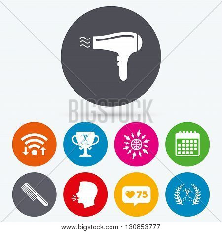 Wifi, like counter and calendar icons. Hairdresser icons. Scissors cut hair symbol. Comb hair with hairdryer symbol. Barbershop laurel wreath winner award. Human talk, go to web.