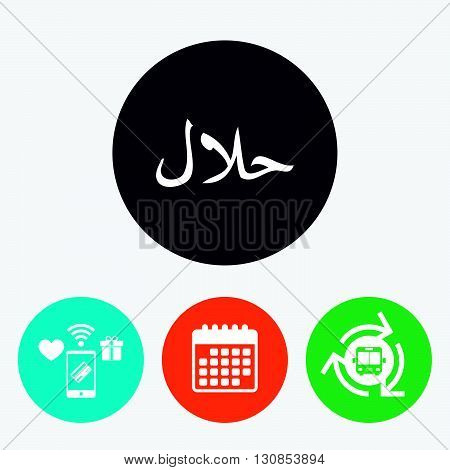 Halal food product sign icon. Natural muslims food symbol. Mobile payments, calendar and wifi icons. Bus shuttle.