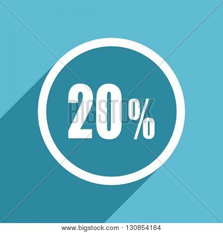 20 percent icon, flat design blue icon, web and mobile app design illustration