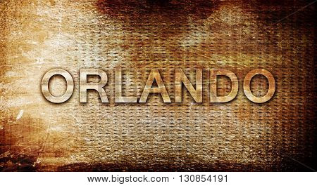 orlando, 3D rendering, text on a metal background