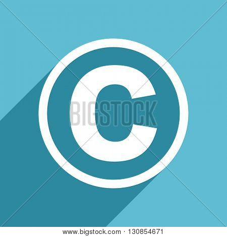 copyright icon, flat design blue icon, web and mobile app design illustration