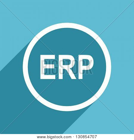 erp icon, flat design blue icon, web and mobile app design illustration