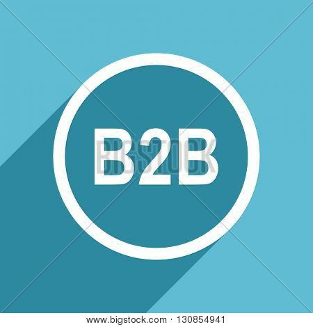 b2b icon, flat design blue icon, web and mobile app design illustration