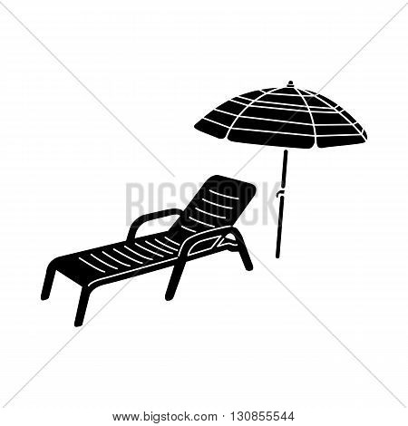 Sun lounger and parasol icon in simple style isolated on white background. Summer and vacation  symbol