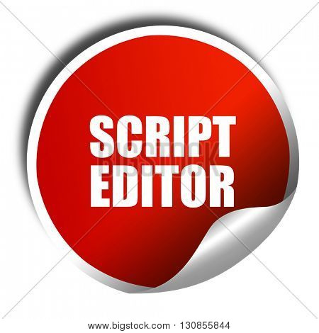 script editor, 3D rendering, red sticker with white text