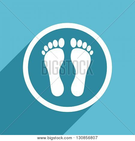 foot icon, flat design blue icon, web and mobile app design illustration