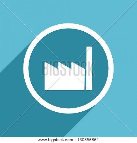 factory icon, flat design blue icon, web and mobile app design illustration