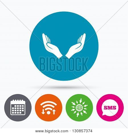 Wifi, Sms and calendar icons. Pray hands sign icon. Religion priest faith symbol. Go to web globe.