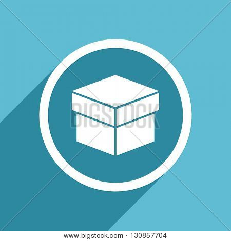 box icon, flat design blue icon, web and mobile app design illustration