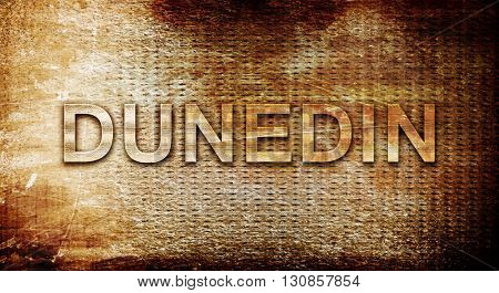 dunedin, 3D rendering, text on a metal background
