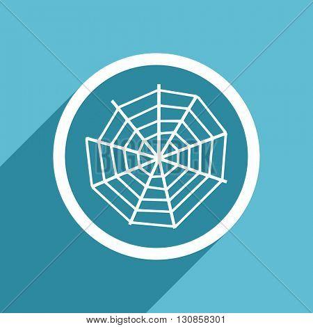 spider web icon, flat design blue icon, web and mobile app design illustration