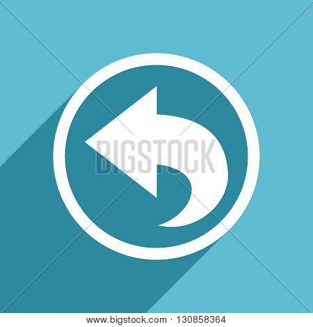 back icon, flat design blue icon, web and mobile app design illustration