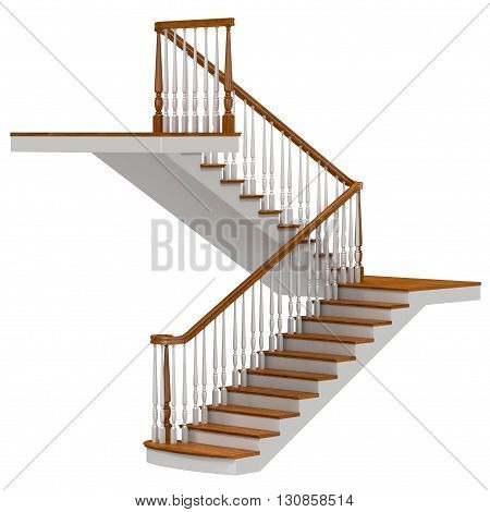 Stairs Isolated on White Background 3D Illustration