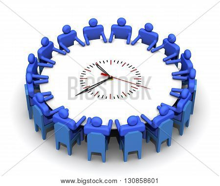 The time for the meeting. Concept. Symbolic people sitting at a round table for meetings in the form of clock. Isolated. 3D Illustration