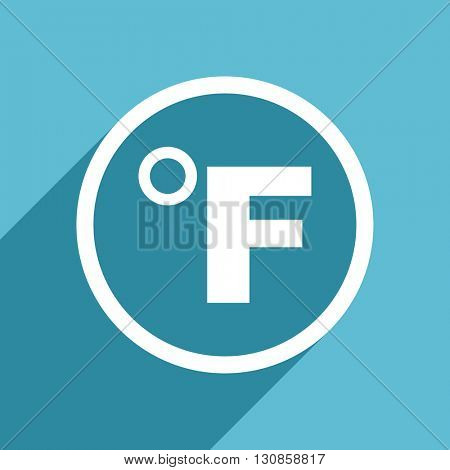 fahrenheit icon, flat design blue icon, web and mobile app design illustration