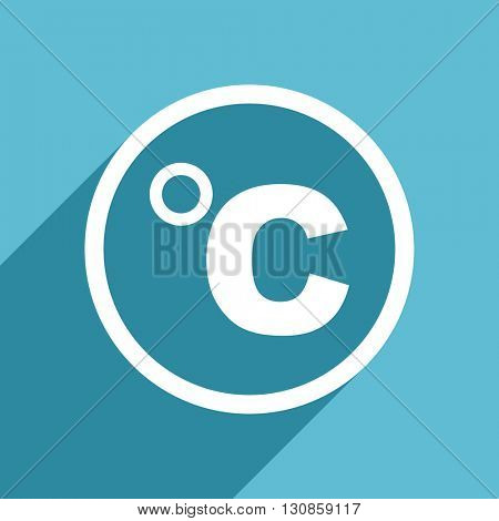 celsius icon, flat design blue icon, web and mobile app design illustration