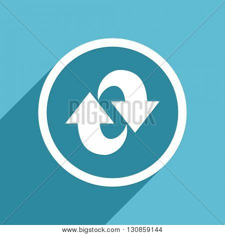 rotation icon, flat design blue icon, web and mobile app design illustration