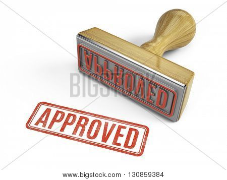 Approved stamp isolated on white. 3d render