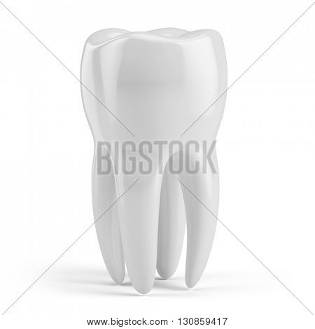 Tooth isolated on white. 3d render