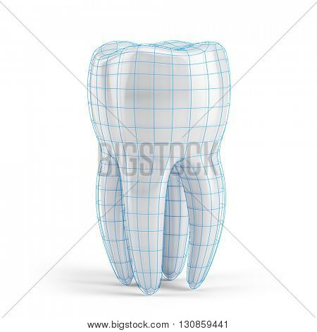 Tooth with wire isolate on white. 3d render