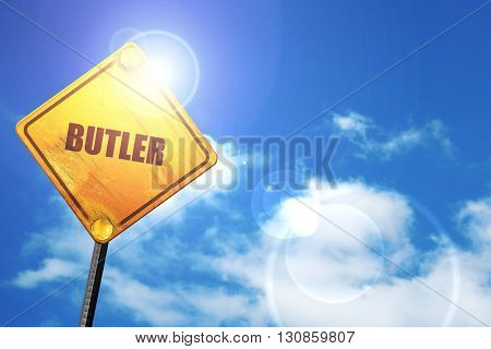 butler, 3D rendering, a yellow road sign